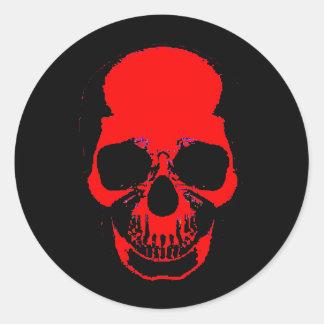 Pegatina rojo del cráneo - pegatina del cráneo -