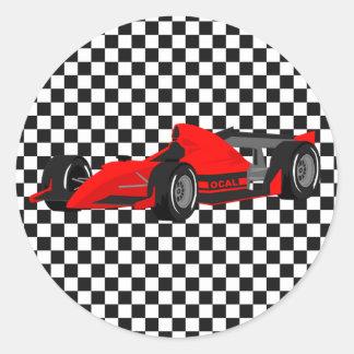Pegatina rojo del cumpleaños del coche de carreras