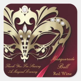 Pegatina rojo del fiesta de la mascarada del oro