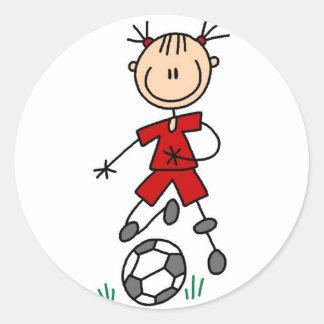 Pegatina rojo del fútbol de los chicas