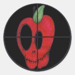 Pegatina rojo del logotipo de la blanco del cráneo