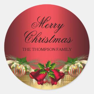 Pegatina rojo del navidad de las campanas y de las