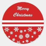 Pegatina rojo del navidad de los copos de nieve