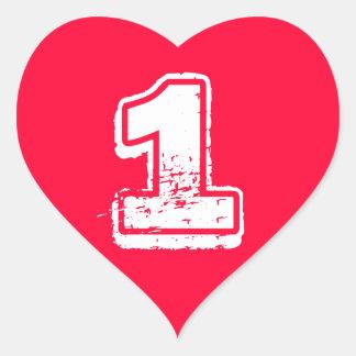 Pegatina rojo del número del corazón