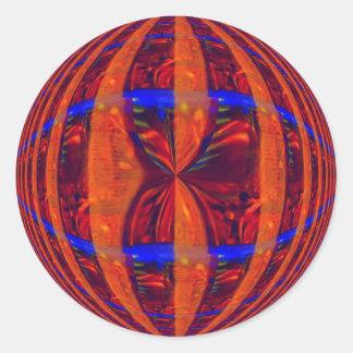 Pegatina rojo del orbe redondo