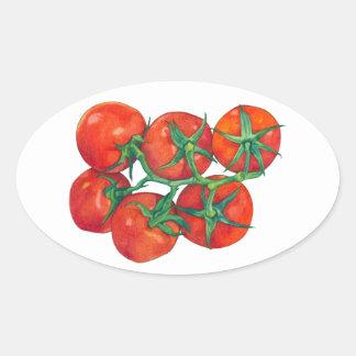 Pegatina rojo del óvalo de los tomates