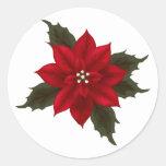 Pegatina rojo del Poinsettia del navidad