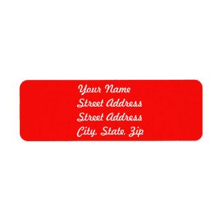 Pegatina rojo del remite etiquetas de remite