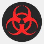 Pegatina rojo del símbolo del Biohazard