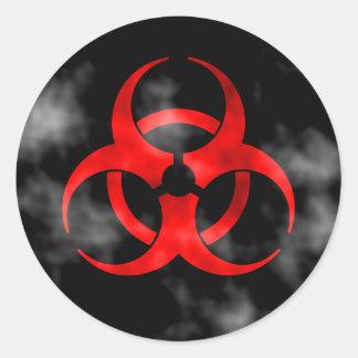 Pegatina rojo del símbolo del Biohazard que fuma