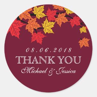 Pegatina rojo marrón del boda del otoño de la