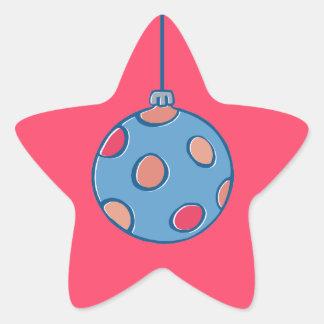 Pegatina rojo redondo de la estrella de las bolas