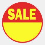 Pegatina rojo y amarillo de la venta al por menor