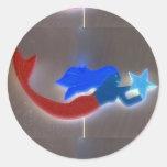 pegatina rojo y azul de la sirena