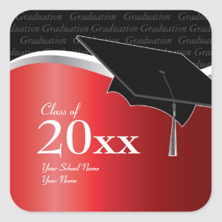 Pegatina rojo y negro adaptable de la graduación