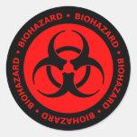 Pegatina rojo y negro del símbolo del Biohazard co