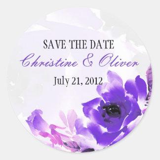 Pegatina romántico color de rosa púrpura del boda