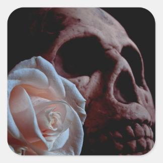 Pegatina romántico del cuadrado del cráneo