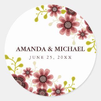 Pegatina romántico del día de boda del ramo floral