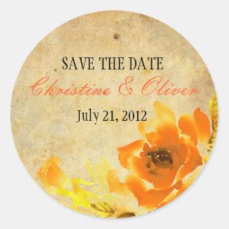 Pegatina romántico floral anaranjado del boda del
