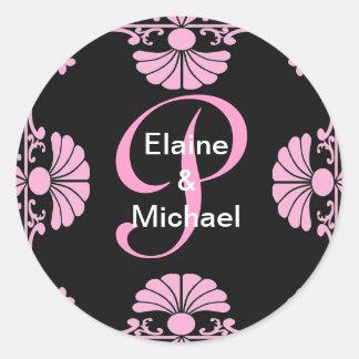 Pegatina rosado adornado de la letra P del