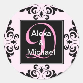 Pegatina rosado adornado de los rosas de la letra