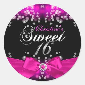 Pegatina rosado bonito del dulce 16 del arco y de