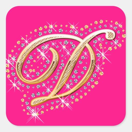 Pegatina rosado con D inicial