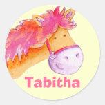 Pegatina rosado conocido del caballo del potro de