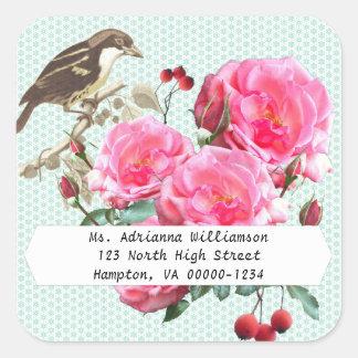 Pegatina rosado cuadrado del remite de los rosas