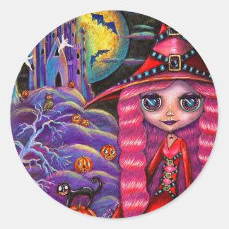 Pegatina rosado de la bruja de Halloween