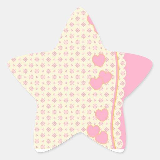 Pegatina rosado de la estrella del fondo del