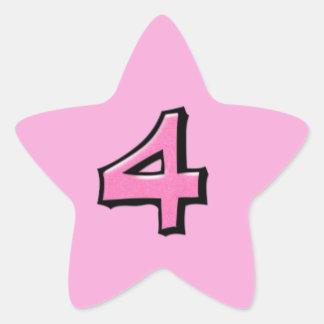 Pegatina rosado de la estrella del número 4 tontos