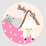Pegatina rosado de la fiesta de bienvenida al bebé