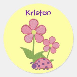 Pegatina rosado de la flor de la mariquita