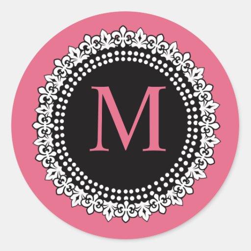 Pegatina rosado de la flor de lis del monograma M