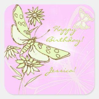 Pegatina rosado de la mariposa de la cal del limón