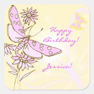 Pegatina rosado de la mariposa del melocotón