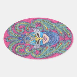 Pegatina rosado de la máscara del carnaval del pav