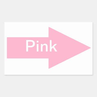 Pegatina rosado de la muestra de la flecha