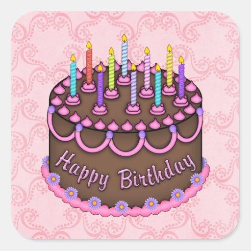Pegatina rosado de la torta de cumpleaños