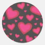 Pegatina rosado de los corazones de la tarjeta del