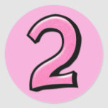 Pegatina rosado de los números 2 tontos