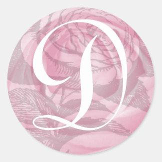 Pegatina rosado de los rosas de la letra D del