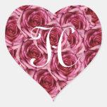 Pegatina rosado de los rosas de la letra H del