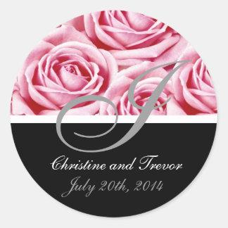 Pegatina rosado de los rosas de la letra I del