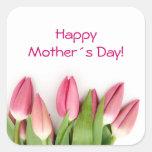 Pegatina rosado de los tulipanes
