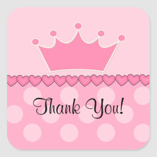 ¡Pegatina rosado de princesa Crown Thank You Pegatina Cuadrada