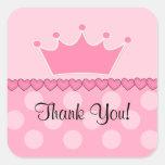¡Pegatina rosado de princesa Crown Thank You Squar
