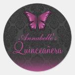 Pegatina rosado de Quinceañera de la mariposa y de